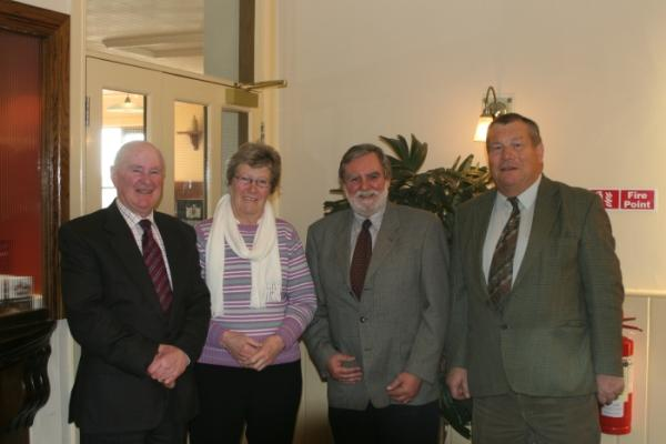 Photo Left to Right, Martin Darcy, Marie Darcy, Frank Mullan (Chairman) and Bill Fennell. Bill, Martin and Marie Join our existing Honorary Life Member Phil Denson